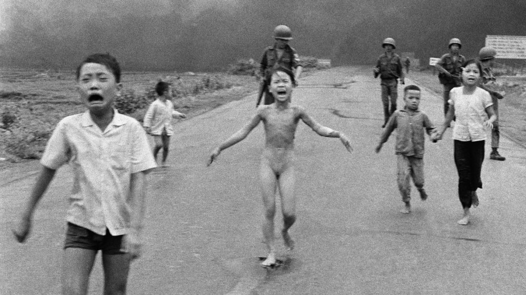On June 8, 1972, AP photographer Nick Ut took this photo of 9-year-old Kim Phuc as she ran from an aeral napalm attack.
